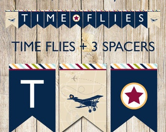 printable time flies banner,airplane party banner,airplane baby shower banner,airplane baby shower,airplane birthday party,navy airplane