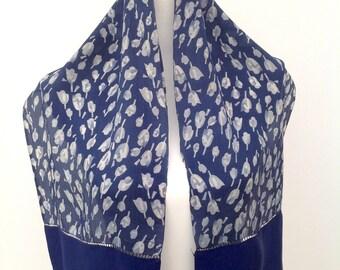 1930s blue silk scarf Art Deco flowers