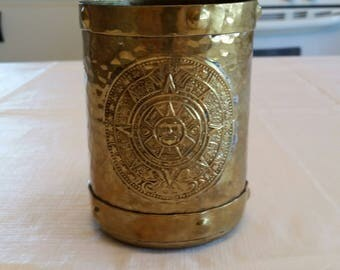 vintage rzs hechden mexico 1970 's hammered brass metal mug / cup w/ aztec calendar - southwestern barware metalware mexican coffee stein