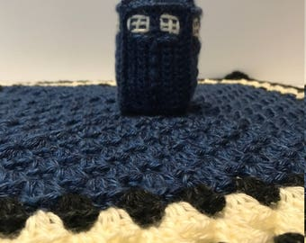 Doctor Who Inspired Tardis Crochet Baby Lovey With Rattle