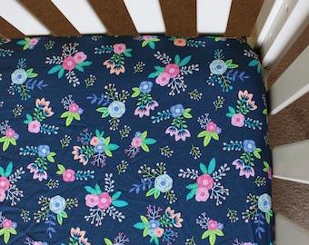 Navy Floral Crib Sheet, Pink navy nursery, nursery bedding, girl crib sheet, crib bedding, navy floral baby, floral baby, floral nursery,