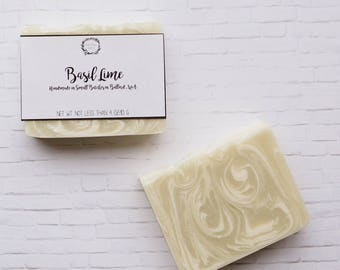 Basil Lime Bar Soap - Handmade Soap, All Natural Soap, Vegan Soap, Bar Soap, Cold Process Soap, Shea Butter Soap, Palm Free Soap