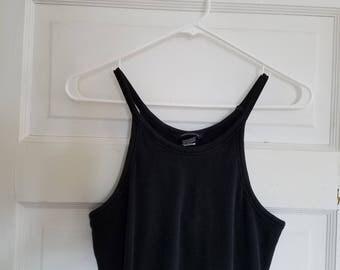 90's maxi ribbed black tank dress