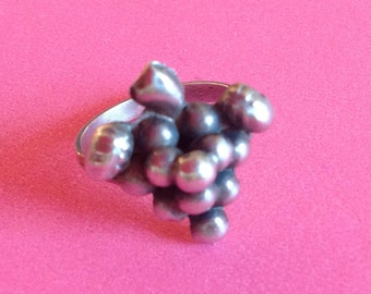 Vintage Silver Mexican Bunch of Grapes Ring