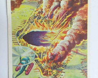 If Meteor Hit New York Topps Target Moon Trading Card Number 24 of 88 1958 Salmon Back Non Sports Atomic Age Mid Century Collectible Art
