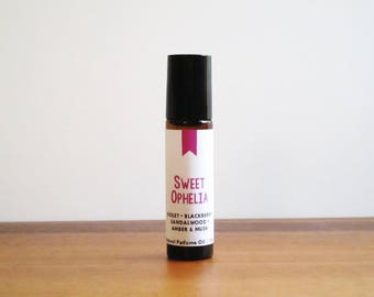 SWEET OPHELIA / Violet Blackberry Sandalwood Amber & Musk / Book Inspired / Shakespeare Collection / Roll-On Perfume Oil