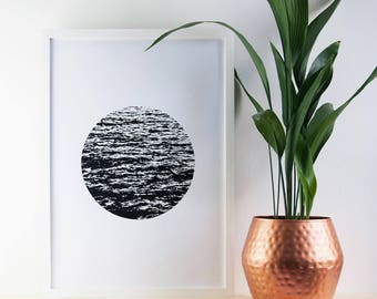 Sea Waves Print, Sea, Waves, Nautical Print, Black and White Print, Poster, Modern, A2 Art Print, Ocean, Screen Print, Gift Idea, Print
