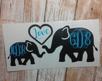 Elephant Decal/ Elephant Monogram /Elephant Initials Monogram/Decal/ Vinyl Decal/ Initial Monogram/ African Elephant Decal/Vinyl Monogram