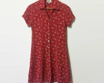 1990s All-Over-Print Shell Button Rayon Mini Dress S