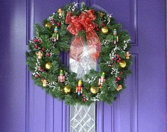 Christmas wreath, Holiday wreath, Toy soldier wreath, evergreen wreath
