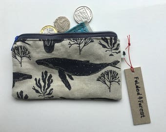 Screenprinted Handmade Coin Purse - Whale