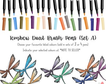 Tombow Dual Brush Pens (Sold in 3s & 4s) Calligraphy brush hand letter brush pen Brush pen marker Calligraphy Brush letter Brush pen Tombow
