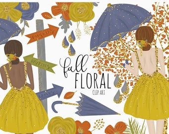 Fall Floral Clip Art  | Digital Art | Autumn