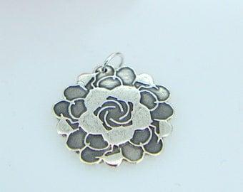 Silver Pendant, Zentangle, flower design, Silver Necklace, Boho, Bohemian, Unique design, Stylish statement, Silver Jewellery, Vintage