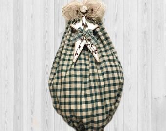 Rustic Country Kitchen - Homespun Decor - Grocery Bag Holder - Bag Organizer - Country Home Decor - Kitchen Decor - Green Decor, Bag Holder
