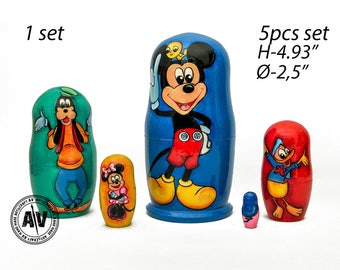 "Matryoshka Mickey Mouse Clubhouse Nesting Dolls Babushka Toys for babies Kids Room Decor Gift for kids nesting toys Mickey Mouse 5pcs 5""13cm"