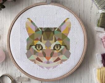 modern cross stitch pattern, geometric cross stitch, cross stitch pattern pdf, cat geometric cross stitch pattern, cats cross stitch pattern