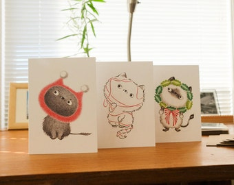 Cat Christmas cards, Holiday Card Set, Christmas card set, Cats, Cat Stationery, Cat Lover