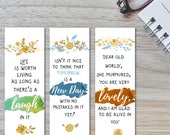 Anne of Green Gables Printable Bookmarks, Set of bookmarks, Book lover gift, Anne of Green Gables quote, tomorrow is a new day,life is worth