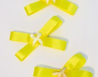 Set of yellow hair bows, Yellow hair bows, Summer hair bows, Sets of hair bows, Hair bows, Girls hair bows, Yellow hair clips, Hair clip set