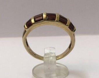 9ct Gold & Brown Zircon Ring - Fully Hallmarked - Size 8 (UK Q)