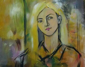 Blonde woman original portrait painting, Figurative painting, Autumn colors,  Frau malerei, modern art, figure painting, female face