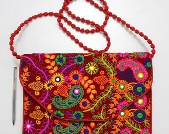 Handmade Ethnic Designer Tribal Banjara Patchwork Embroidered Hippy Fashionable Stylish Trendy Hippie Gypsy Boho Bohemian Clutch Bag F286