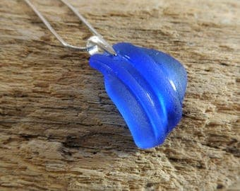 Blue Sea Glass Necklace - Real Cobalt Blue Seaglass Pendant with Sterling Silver Bail on Silver Snake Chain