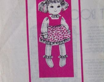 """Vintage 15"""" Cloth Doll & Clothes Pattern Mail Order 1960s UNCUT 7038"""
