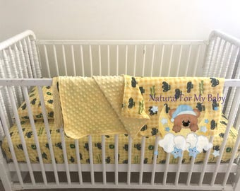 Ready To Ship Tractor Toddler Blanket Tractor Blanket Tractor Toddler Bedding Cars Crib Blanket Cotton Minky Blanket