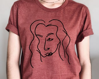 Blind Contour Graphic Tee Handprinted