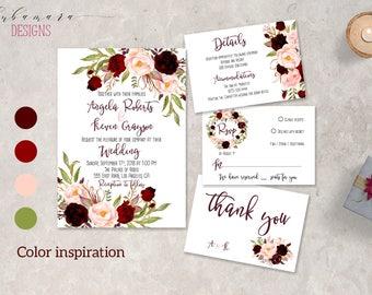 Marsala Wedding Invitation Set Boho Burgundy Pink Floral Wedding Invite Suite Fall Digital Summer Spring Romantic Wedding Invite - WS044