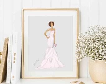 Personalized Bridal Gown Sketch, Custom Bride Gift, Custom Fashion Illustration, Custom Bridal Gown, Wedding Dress Art, Bridal Portrait, Art