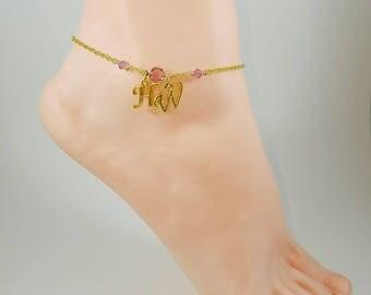 Hotwife Anklet, Birthstone Jewelry, Initial Jewelry, Personalized Jewelry, Genuine Swarovski Crystals, Sexy Anklets, Swinger Jewelry, Kinky