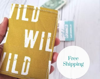 Wild Wallet, Mustard Yellow Wallet, Small Wallet, Small Women Wallet, Business Card Wallet, Credit Card Wallet, Credit Card Case, Gift Idea