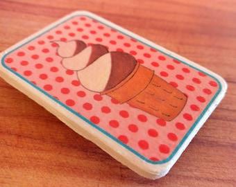 Wooden Ice Cream Cone Magnet