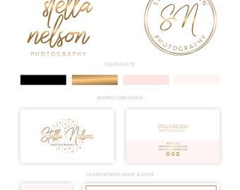 Branding Package, Branding Kit, Premade Logo, Watercolor Logo, Logo Design, Gold Logo, Pink Logo,Calligpaphy, Photography Logo, Wedding Logo