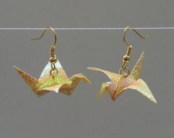 Origami crane earrings - self folded iridescent paper, reinforced, shimmering, mettalic yellow