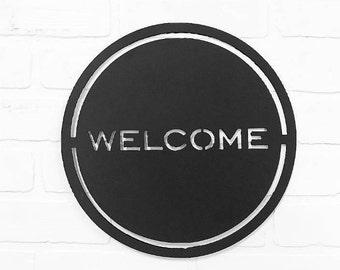 Welcome Door Hanger | Metal Entryway Decor | Front Porch Decor
