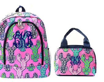 Pink Lobster Backpack and Lunch bag