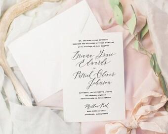 The Briana Suite | Wedding Invitation Suite, Wedding Invitation, Romantic Wedding Invitation, Calligraphy Wedding Invitation
