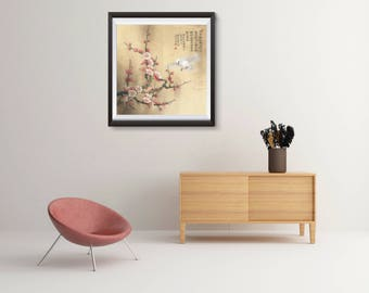 Chinese traditional painting reprint, birds flower prints, Asian art, Art Poster, poster wall art, Office Decor, Home Decor Print LXM81