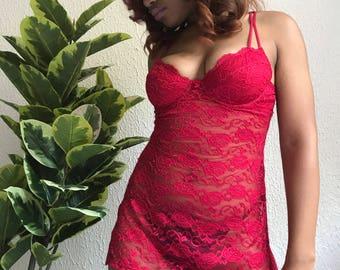 Red Lingerie Slip SIZE S/M