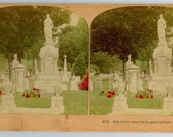 Stereoview Card #5173 Our loved ones have gone before.  1889, Colorized, B.W. Kilburn, James M. Davis