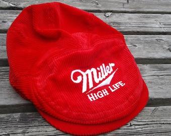 Vintage 80's / 90's Miller High Life Beer Red Corduroy Newsboy Golf Button Snapback Flippity Floppity Cap