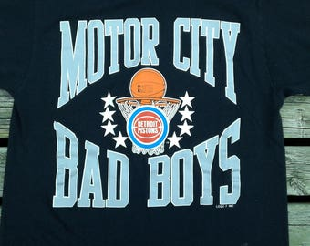 Vintage 80's / 90's Detroit Pistons Motor City Bad Boys Made in USA by Logo 7 Large t-shirt