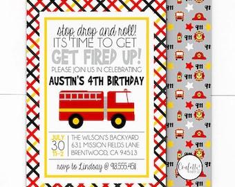 Fire Truck Birthday Invitation -  Firefighter Invitation - Fireman Invitation - Fire Truck Invite - Fire Truck Birthday - Red Fire Truck