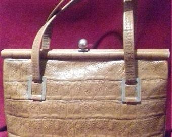 1950s / 60s Brown Vintage Ladies Handbag / Brown Moc Croc vintage Handbag