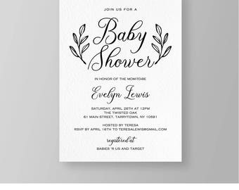 Baby Shower Invitation Template, Printable Rustic Baby Shower Invite, Neutral Baby Shower, DIY, Instant Download, 100% Editable #011BS