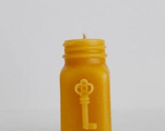 Antique Bottle Shaped Beeswax Candle - Key Style